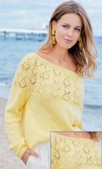 Как связать спицами пуловер с открытым плечом и ажурной кокеткой